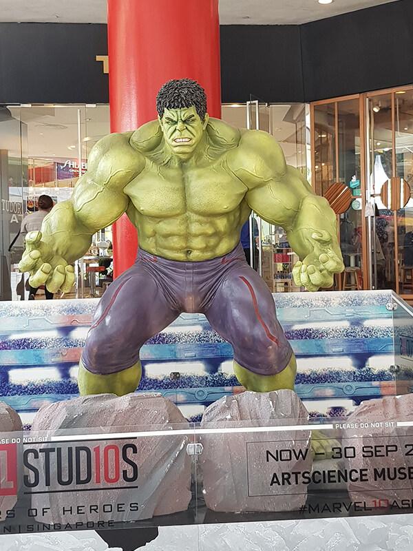 Incredible Hulk scale figure at Singapore on Scuderia Ferrari 2019