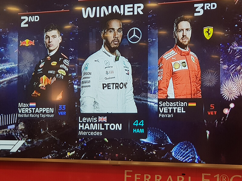 The winners of the Ferrari Scuderia 2019 held at Singapore with Lewis Hamilton taking the first spot
