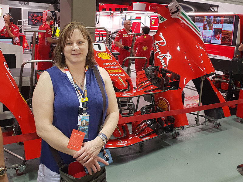 Clarissa Leary with Team Ferrari in the background