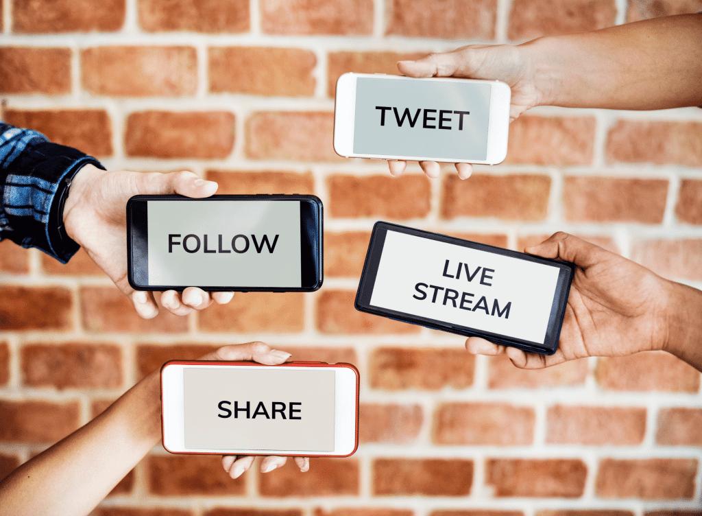 Social media platforms on different smartphones
