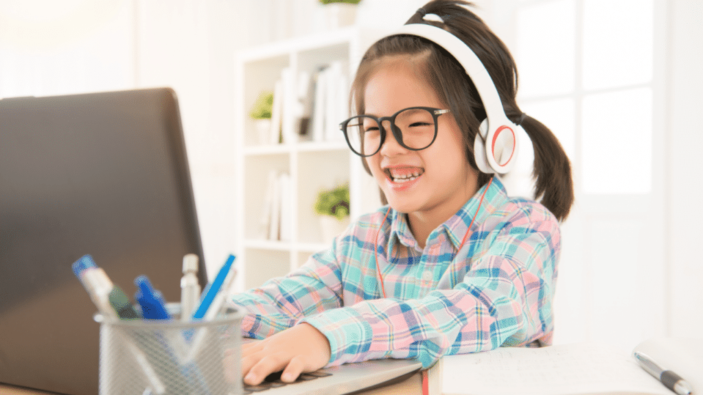 Child is happy to see her friends from school again during her online classes