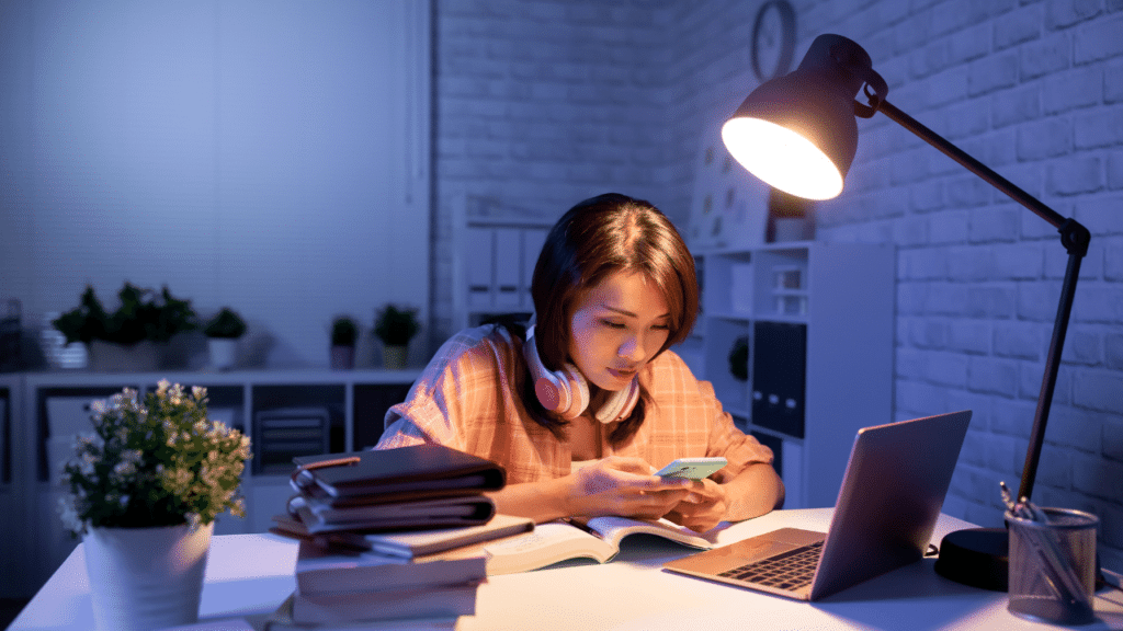 Woman working from home and enjoying working on her favored work time