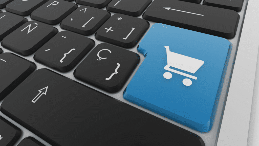 Shopping cart icon on the keyboard to add to cart on online stores