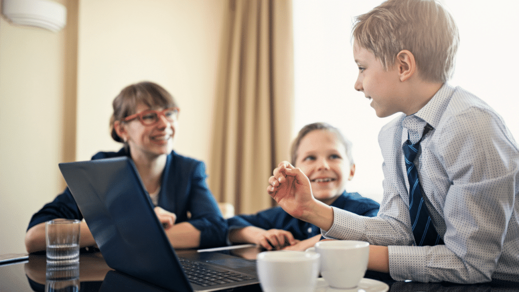 Child delivering his business proposal to his mother and brother
