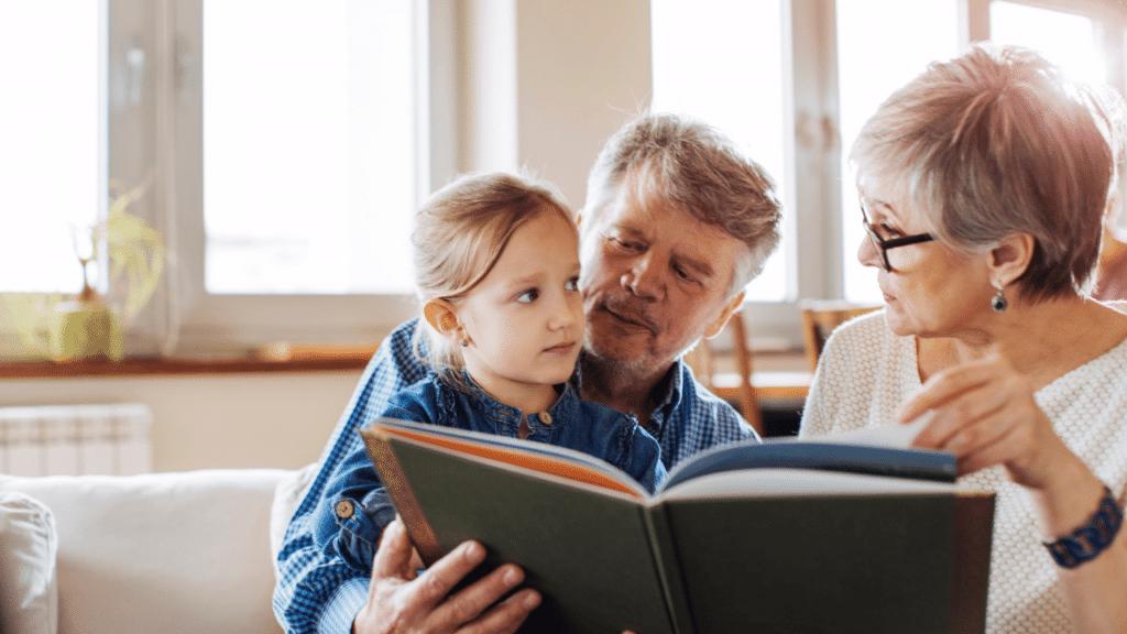 Grandparents instilling beliefs and values to their grandchildren